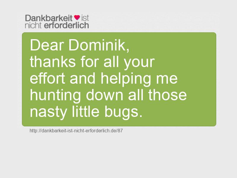 Dear Dominik,